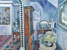 Edward Bawden: 'The Living Room, 2 Park Lane, Saffron Walden' by Edward Bawden, 1985 (watercolour) Green Lounge, Royal College Of Art, Teaching Art, Teaching Ideas, Cat Art, Painting Inspiration, Illustrators, Book Art, Art Photography
