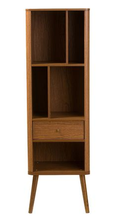 Conveniently compact, this chic Vindeln Bookcase is perfect for adding extra storage to a slim, spare nook. Beautifully made from warm, medium-finished wood, this mid-century–inspiredunit boasts a char...  Find the Vindeln Bookcase, as seen in the Cabinets Collection at http://dotandbo.com/category/furniture/bookcases-and-cabinets/cabinets?utm_source=pinterest