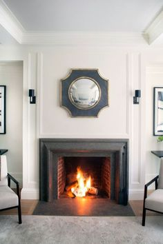 Simple fireplace setting by Victoria Hagan via