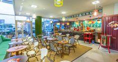 Frei Café in Budapest #coffeeshop #rattan #cafedesign #contract #furniture #design Budapest, Bistro Interior, Cafe Design, Rattan, Coffee Shop, Interiors, Furniture, Wicker, Coffee Shops