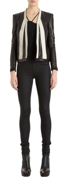 Black is anything but basic with this paneled leather jacket.