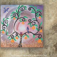 Kirsch Birnenbaum 40x40 Expressionism Baum Gemälde von KsaveraART