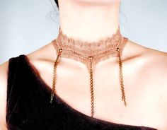 brown lace tassel choker bib // lace necklace by LaceFancy on Etsy