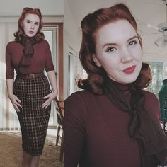 Do you ever have one of those days where you think you're making a nice face in a photo but every. is resting bitch face? Vintage Inspired Fashion, 1940s Fashion, Timeless Fashion, Modern 50s Fashion, Modern Clothing, Fashion Men, 1940s Outfits, Vintage Style Outfits, Vintage Dresses