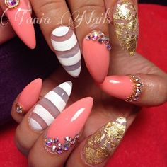 Pink, white and negative space stilettos with gems and gold foil flakes. #trythisnail ♥@nn@b£|¥♥pink perfection nails