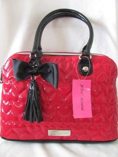 Betsey johnson red dome satchel with black straps and bow new with tags Guess Handbags, Cute Handbags, Purses And Handbags, Betsy Johnson Purses, Betsey Johnson Handbags, Fashion Bags, Fashion Handbags, Trendy Fashion, Cute Purses