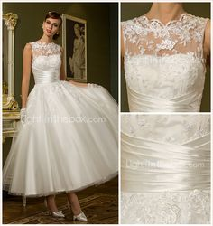 Wedding Dress A Line Ankle Length Tulle Jewel Bridal Gown With Beading Appliques - USD $ 74.99