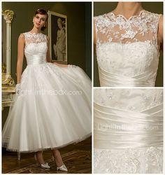 vestido de uma linha de jóia do tornozelo-comprimento de tule casamento (788859) - BRL R$ 238,02
