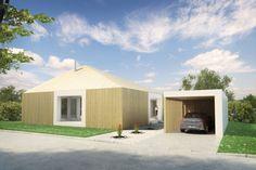 design.126 Bungalow - Ein Bungalow in neuer Dimension. #designhaus #architektur #holzbauweise Bungalow, Shed, Outdoor Structures, Outdoor Decor, Public, Home Decor, Garden Cottage, House Design, Build House