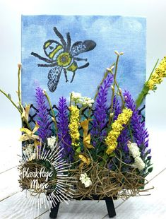 Blank Page Muse: Garden Bee - A Mixed Media Canvas Mixed Media Canvas, Mixed Media Art, Make Your Own Card, Blank Page, Bee Art, Alcohol Markers, Instagram Blog, Barbed Wire, Canvas Board