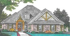 European House Plan with 2896 Square Feet and 4 Bedrooms from Dream Home Source | House Plan Code DHSW076886