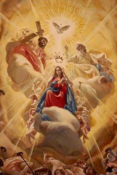 The Coronation of Mary as Queen of Heaven and Earth - Mary Queen oh Heaven Catholic Pictures, Pictures Of Jesus Christ, Catholic Religion, Catholic Art, Blessed Mother Mary, Blessed Virgin Mary, Religious Images, Religious Art, Immaculée Conception