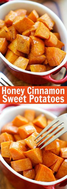 Cinnamon Roasted Sweet Potatoes Honey Cinnamon Roasted Sweet Potatoes - the best fall and Thanksgiving side dish that everyone can't stop eating. Easy peasy and fool-proof Sweet Potato Cinnamon, Honey And Cinnamon, Sweet Potato Recipes Healthy, Cinnamon Butter, Healthy Recipes, Healthy Options, Easy Recipes, Thanksgiving Side Dishes, Vegetarian Meals