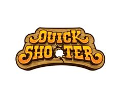 """""""Quick Shooter"""" annoys me. While the swirls in the fontface are appealing to me, I don't like the cheeky-cheesiness of the logo overall. The perfect hole created in the sign where the letter O should be distracts me."""
