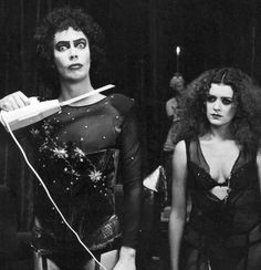 "Tim Curry and Patricia Quinn on the set of ""Rocky Horror Picture Show"" 1975 Rocky Horror Show, The Rocky Horror Picture Show, Columbia Rocky Horror, Movies Showing, Movies And Tv Shows, Science Fiction, Time Warp, Thing 1, Rare Photos"