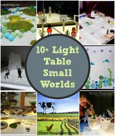10+ fun small world activities for kids to try on the light table! Great for preschoolers! Engaging ways for kids to learn through play