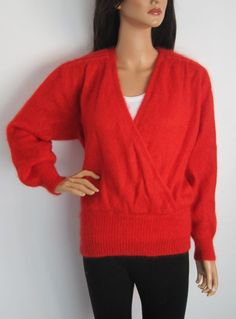 Vintage 1980s Red Angora V-neck Jumper available to buy online at Virtual Vintage Clothing £14