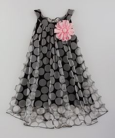 Look at this Mia Belle Baby Black Pink Flower Swing Dress - Toddler Girls on - Kids Fashion Frocks For Girls, Toddler Girl Dresses, Little Girl Dresses, Girls Dresses, Toddler Girls, Party Dresses, Toddler Hair, Baby Frocks Designs, Kids Frocks Design