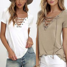 Trendy V-neck Criss Cross Short Sleeve Hollow Out Top