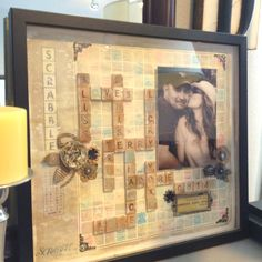 Scrabble art framed keepsake - what a great anniversary/wedding/valentine gift this would make! Scrabble Tile Wall Art, Scrabble Frame, Scrabble Crafts, Tile Crafts, First Anniversary Gifts, Crafty Projects, Wedding Gifts, Arts And Crafts, Upcycled Crafts