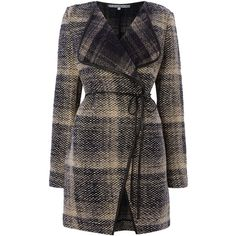 La Fee Maraboutee Tartan Coat found on Polyvore featuring outerwear, coats, jackets, coats & jackets, clearance, grey, tartan coat, gray coat, grey coat and plaid coat