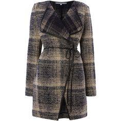 La Fee Maraboutee Tartan Coat found on Polyvore featuring outerwear, coats, jackets, coats & jackets, clearance, grey, tartan coat, gray coat, grey coat and plaid coat