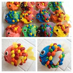 Rainbow Fish cupcakes - great snack to accompany the book! And the lesson plan! Fancy Cupcakes, Kid Cupcakes, Cupcake Cookies, Decorated Cupcakes, Fishing Cupcakes, Cupcake Wars, Rainbow Fish, Cute Food, Mini Cakes