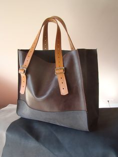 GREY WITH BROWN  leather handbag / made by ladybuq. $150.00, via Etsy.