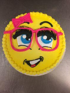 Cute piped emoji cake
