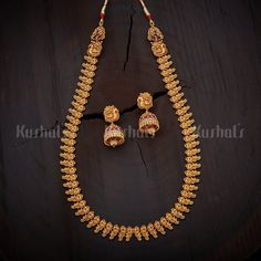 Designer antique necklace studded with synthetic ruby stones and plated gold polish and made of copper alloy Pendant Jewelry, Gold Jewelry, Women Jewelry, Jewellery Earrings, Jewelry Rings, Simple Necklace, Necklace Set, Gold Necklace, Gold Earrings Designs