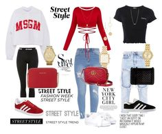 """""""Street Style"""" by reginaj1021j on Polyvore featuring Topshop, Ivy Park, adidas, Puma, Botkier, Blue Nile, Marc Jacobs, Michael Kors, Citizen and Cloverpost"""