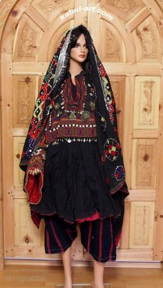 antique Afghanistan nuristan Woman embroidered weding Dress jumlo antique afghan Nomadic Tribal Dress Nuristan. antique complet original rare Afghan dress with headscarf, trousers and shoe. Silk embroidery on cotton; buttons, metal ornaments. 200 cm across the ...