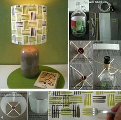 How to make a Lamp with a bottle, paper and chopsticks