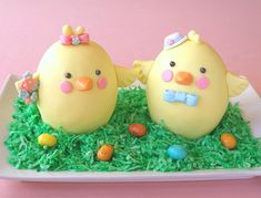 Easter Chicks Filled Mini Cakes Recipe Tutorial baking911.com/...