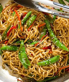20 Minute Vegetable Lo Mein 20 Minute Vegetable Lo Mein is a super easy weeknight dinner that is loaded with veggies! Crisp vegetables and long noodles all combined in a flavorful sauce the entire family will love it! Vegetable Lo Mein, Vegetable Dishes, Vegetable Recipes, Vegetarian Recipes, Cooking Recipes, Vegetable Ideas, Veggie Meals, Healthy Recipes, Healthy Meals