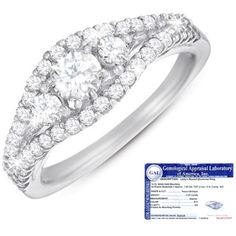1 Carat Certified Diamond 14K White Gold Anniversary Ring