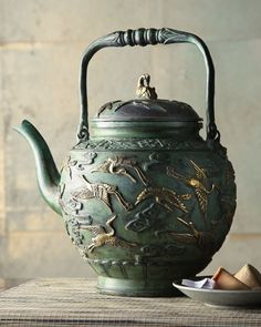 Antique Green Teapot