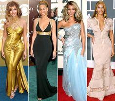 Beyonce @ Grammys  February 8, 2004: House of Dereon  February 13, 2005: Roberto Cavalli  February 10, 2008: Elie Saab  January 31, 2010: Stephane Rolland