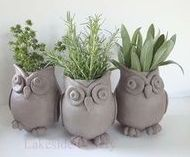 Cute little flower pots shaped as owls you could even add color if you wanted