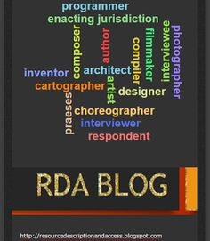 LC RDA Implementation of Relationship Designators in Bibliographic Records http://resourcedescriptionandaccess.blogspot.com/2015/07/lc-rda-implementation-of-relationship.html #LIBRARIANSHIPSTUDIES  Library of Congress Implementation of Resource Description and Access Relationship Designators in Bibliographic Records with MARC 21 RDA Cataloging Examples, Guidelines, and Best Practices.