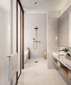 35 Badezimmer Renovierungsideen Home Beautiful, Contemporary Bathroom Designs, Modern Bathroom Design, Bathroom Interior Design, Minimalist Bathroom Design, Minimal Bathroom, Neutral Bathroom, Interior Modern, White Bathroom, Bathroom Renovations