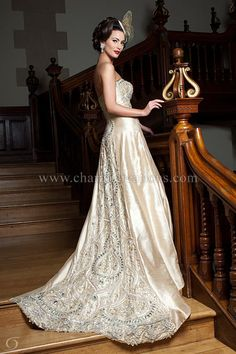 Wedding Gowns - Light champagne gold gown with exquisite Indian embroidery ideal for a registry wedding
