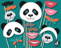 Panda Bear Printable Photo Booth Props   Panda Themed Photo Props   INSTANT DOWNLOAD   Party Safari By Candace