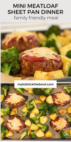 Easy meatloaf recipe, a sheet pan dinner that is perfect for busy families bake it all in one pan #meatloafrecipes #sheetpandinners #familydinner Healthy Family Dinners, Healthy Meals For Kids, Family Meals, Kids Meals, Easy Meals, Healthy Recipes, Family Recipes, Healthy Food, Easy Meatloaf