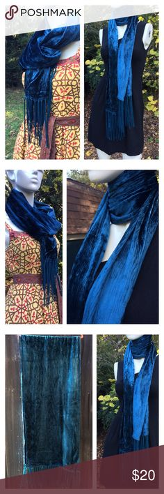 """Peacock Blue Jewel Tone Crush Velvet Fringe Scarf Vintage crushed velvet long scarf in a glorious peacock blue jewel tone.  In excellent condition - purchased from an estate sale & inspected for stains, tears, odors, etc.  No flaws to note! Measures approx 17x70"""" w fringe.  Thanks so much! 💎💎💎 Vintage Accessories Scarves & Wraps"""
