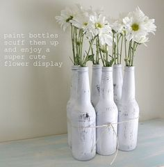 for your empty beer bottles! spray painted!