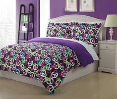 Twin Microfiber Kids Painterly Peace Bedding Comforter Set