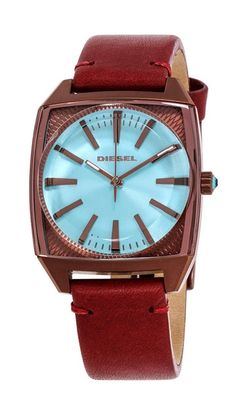 b081f3f422d Diesel Becky DZ5555 Women s Square Face and Leather Band Watch Diesel Uhr