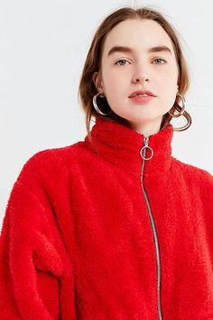 Slide View: 5: UO Charmane Red Fleece Zip-Front Jacket