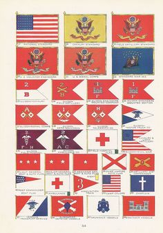 United States Army Flags, American Military, Vintage Illustration, Patriotic, World War I Era, Red, White and Blue, 1917. via Etsy.